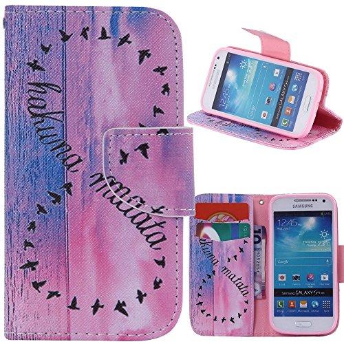 アイビー Samsung Galaxy サムスン ギャラクシー S4 Mini(i9190) SIV Mini 対応ケース 「hakuna matata」 PUレザーケース 手帳型ケース IDカード/クレジットカード入れ ナイフ型磁気フリップ閉鎖 スタンド機能付 横開き 卓上対応 防塵 保護 Samsung Galaxy サムスン ギャラクシー S4 Mini(i9190) SIV Mini 用
