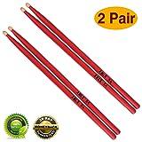 Drum sticks 5a Wood Tip drumsticks Classic Red drum stick (2 pair Red -5A drumstick) (Color: 2 pair Red -5A drumstick, Tamaño: 5 A)