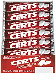 Certs Classic Mints, Cinnamon, 0.72 Ounce Rolls (Pack of 12)