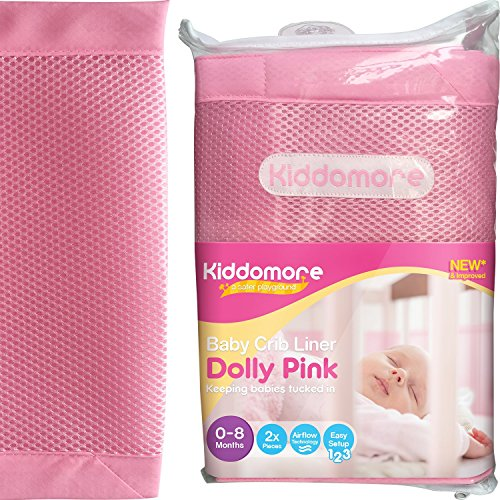 Gorgeous Dolly Pink Baby Mesh Crib Liner for Cribs By Kiddomore - 2x Pcs for Full Coverage, New & Improved Fibre Padding with Breathable AirFlow Technology (Full Bathtub compare prices)