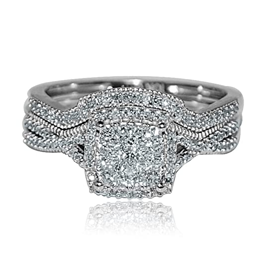 Midwest Jewellery Women's 0.4Cttw Diamond Bridal Rings Wedding Set 10K White Gold Square Shaped Pave Halo