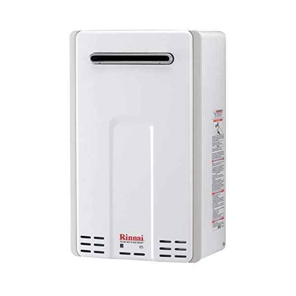 Rinnai V Series HE Tankless Hot Water Heater: Outdoor Installation (Color: V75eN - Natural Gas/7.5 GPM, Tamaño: Large)