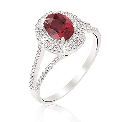 1.55 Carats 18k Solid White Gold Ruby and Diamond Engagement Wedding Bridal Promise Ring Band