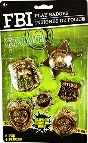 Gold FBI Play Badges (6 Pieces) - 1