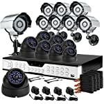 ZMODO 16CH H.264 Standalone DVR CCTV Surveillance System with 8 Bullet Sony CCD Outdoor Cameras & 8 Dome Sony CCD Weatherproof Security Cameras-1TB HD