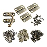 Wobe 60pcs Small Box Hinges and 30 Sets Antique Right Latch Hook Hasp with 360 Pcs Replacement Screws for Wood Jewelry Box Hasp Catch Decoration - Bronze Tone (Tamaño: Small-30 Set)