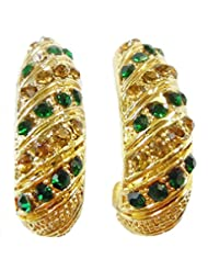 DollsofIndia Pair Of Green Stone Studded Gold Plated Earrings - Metal - Golden