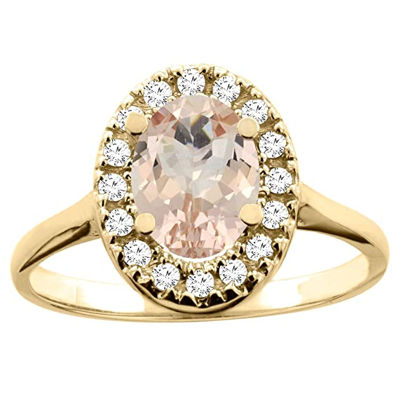 14ct Yellow Gold Natural Morganite Ring Oval 8x6mm Diamond Accent 7/16 inch wide, size N