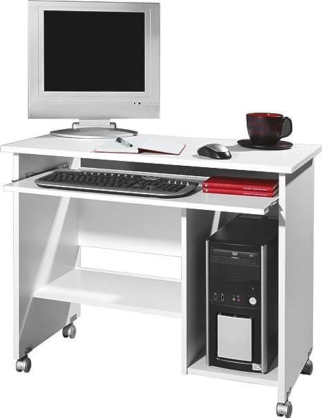 Dreams4Home Schreibtisch I 'Halmstad' - Burotisch, Tisch, Computertisch, Arbeitstisch,Buro, Tastaturauszug, B/H/T: 90 x 72 x 48, Weiß, made in Germany, Druckerfach, auf Laufrollen