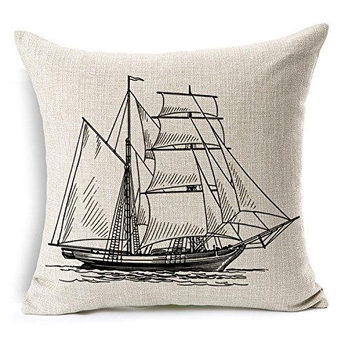Nautical Cotton Linen Pillow Cover- Antique Boat