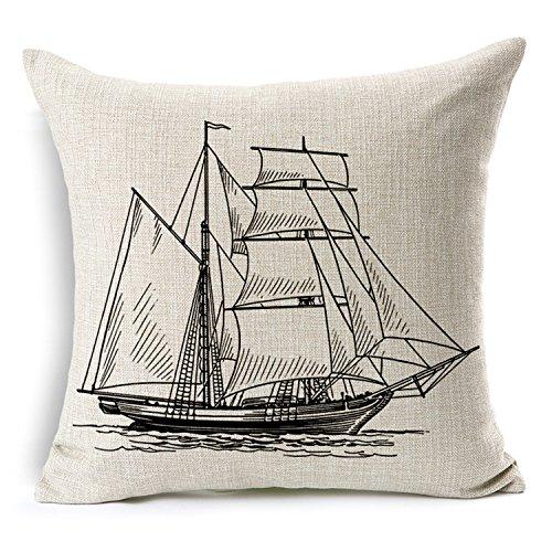 Nautical Cotton Linen Pillow Cover- Antique Boat