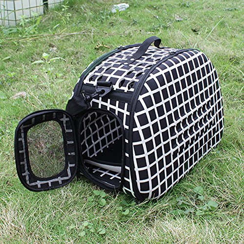 AGPtek Portable Folding Small Pets Carrier Dogs Cats Travel Bag Collapsible Crate Tote Handbag Shoulder Strap Black&White Checkered Travel cage