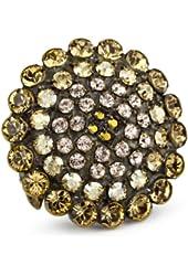 "Sorrelli ""Raw Sugar"" Bold Crystal Starburst Goldtone Adjustable Ring"
