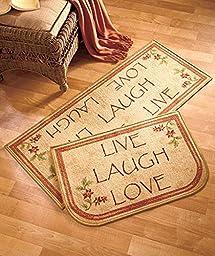 2 Pc Rug Set Live Laugh Love Inspirational Country Accent Mats Decor