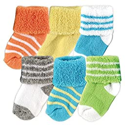 Luvable Friends 6-Pack Newborn Socks in Reusable Washbag, Yellow