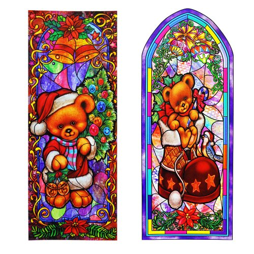 Reusable Stain Glass Window Clings - 2 Pack Teddy