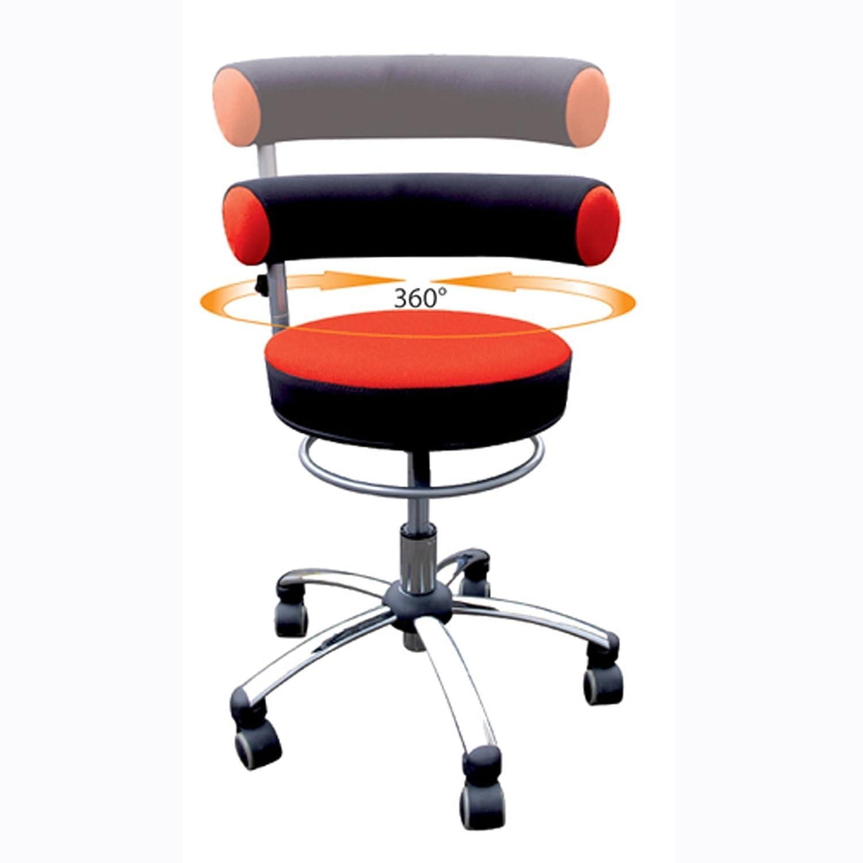 Sanus Gesundheitsstuhl mit höhenverstellbarer Lehne, Sitzhöhe niedrig (36-43 cm), rot/schwarz