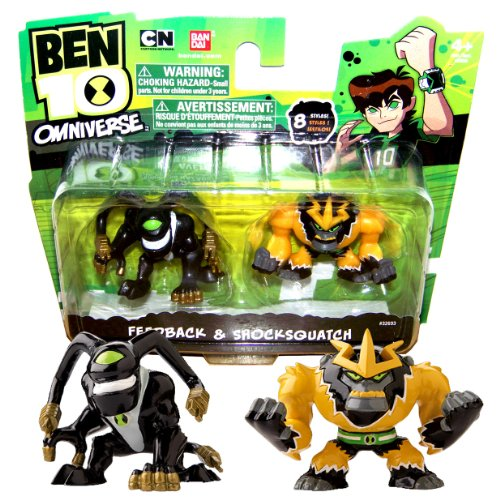 Bandai Year 2013 Ben 10 Omniverse Series 2 Pack 2 Inch Tall Mini Action Figure Set - Feedback and Shocksquatch