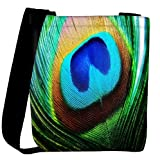 Snoogg peacock feather closeup Womens Carry Around Cross Body Tote Handbag Sling Bags