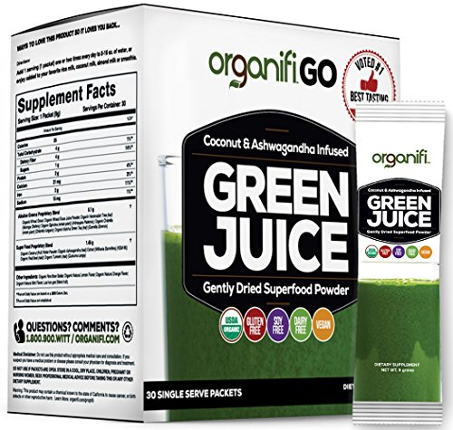 Organifi GO Packs - Green Juice Super Food Supplement 30 IndividuallyWrapped Portable Travel-Friendly Packs. USDA Organic Vegan Greens Powder by Organifi (Juice Packets compare prices)