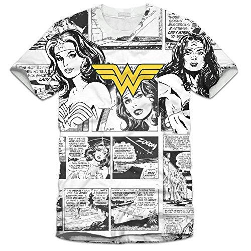 Rags2Riches R2R0002 - Maglietta da donna con motivo a fumetti di Wonder Woman, personaggio DC Comics, colore: bianco White Full Print small