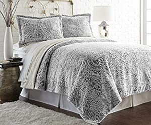 Faux fur/Sherpa 3 piece comforter set Charcoal King