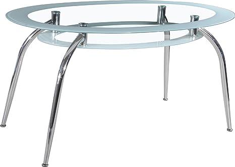 Soho Moderne ovale Esstisch mit Weiß eingefasst Glas Chrom geschwungenen Beinen