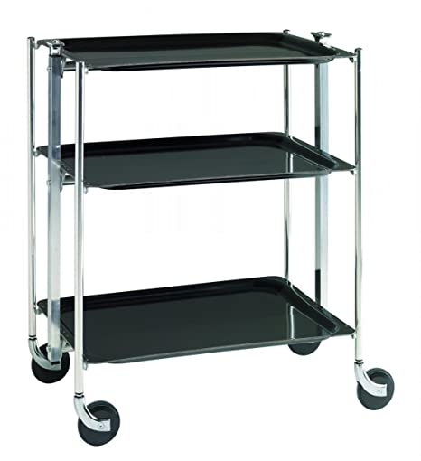 Platex Textable Trolley 3 Shelves Laminated Black / Chrome