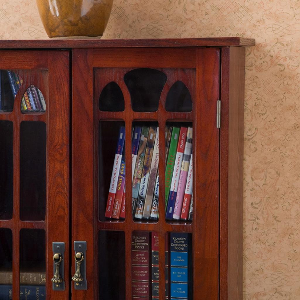 Media Furniture Cabinets: SEI Window Pane Wood Media Cabinet, Cherry