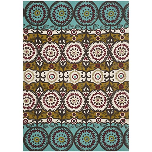 Safavieh Cedar Brook Collection CDR127K Handmade Turquoise and Burgundy Cotton Area Rug, 4 feet by 6 feet (4' x 6')
