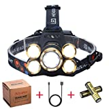 NEWEST Headlamp 12000 Lumen CREE LED Work Headlight USB Rechargeable, 4 Modes IPX4 Waterproof Zoomable Head Lamp Best Head Lights for Camping Cycling Hiking Hunting (Color: golden(Zoomable ))