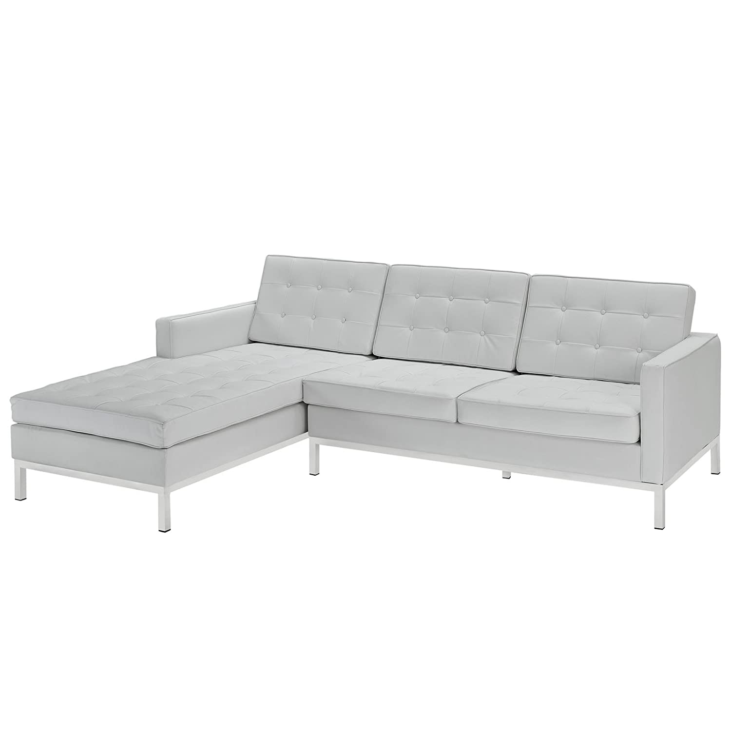 Urban Contemporary Tufted White Leather Sectional - Left Arm