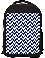 "Snoogg White And Blue Strips Casual Laptop Backpak Fits All 15 - 15.6"" Inch Laptops"
