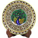 Style Souk Decorative White Marble Plates Meenakari Designe Plate With Stand Set Of 1 Pcs