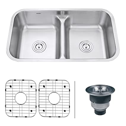 "Ruvati RVM4350 Low Divide 32"" Undermount Double Bowl Kitchen Sink - Stainless Steel"