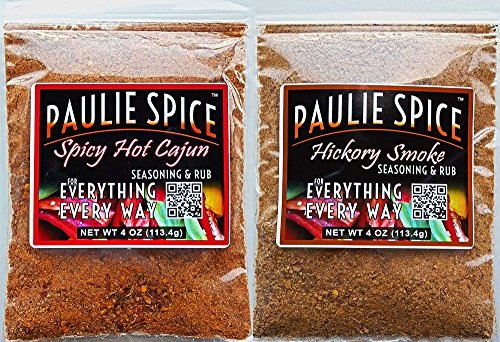 Paulie Spice : Sweet Hickory Smoke BBQ Rub And Spicy Hot Cajun Seasoning Combo Set (2 Flavors) : Amazing On Ribs, Pork, Wings, Chicken, Prime Rib, Steak And Seafood : 8 Oz