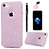 """Badalink iPhone 7 Case (4.7"""") Shiny Sparkle Shockproof Drop Protection TPU Rubber Flexible Bumper Slim-Fit Sratchproof Colorful Protective Frosted Coating Cover for iPhone 7 - Hot Pink"""