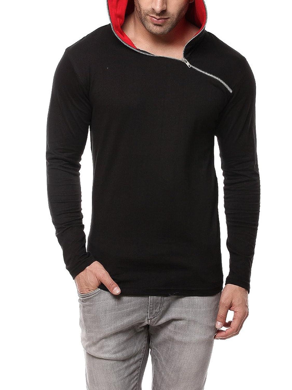 Black t shirt amazon - Gritstones Black Red Full Sleeve Hooded T Shirt Gsfshdzip1291blkrd