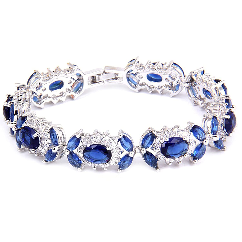 White Gold GP Oval Marquise Round Tennis Royal Blue Swarovski crystal CZ Bridal Wedding Bracelet