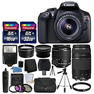 Canon EOS Rebel T6 Digital SLR Camera + Canon 18-55mm EF-S f/3.5-5.6 IS II Lens & EF 75-300mm f/4-5.6 III Lens + Wide Angle Lens + 58mm 2x Lens + Auto Power Flash + 48GB SDHC Card + Accessory Bundle