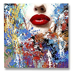 Neron Art - Hand painted Abstract Oil Painting on Rolled Canvas for Living Room Wall Decor - Fancy Lips 48X48 inch