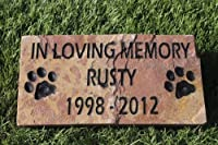 Sandblast Engraved Red Stone Pet Memorial Headstone Grave Marker Dog Cat ilm 4x8
