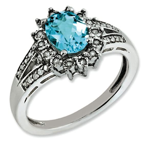 Sterling Silver Rough Diamond and Blue Topaz Ring - Ring Size Options Range: J to T