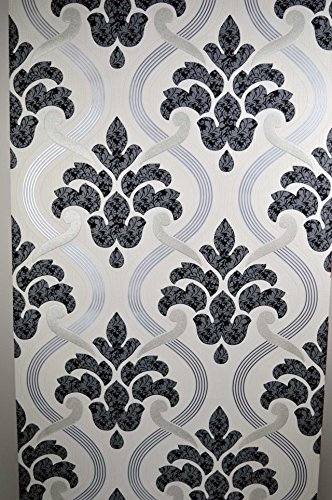 glitter-wallpaper-black-silver-grey-white-textured-vinyl-damask-paste-to-wall