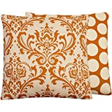 Chloe & Olive Orange Creamsicle Collection Floral and Polka Dot Square Pillow Cover, 20-Inch, Cream