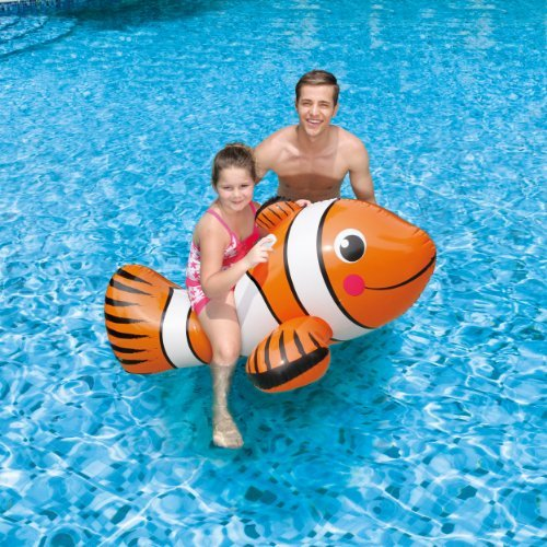 Swim Time Clown Fish Inflatable Ride-On Pool Toy, 67 Toy, Kids, Play, Children