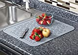 1X Kitchen Heart XL Premium Silicone Dish Drying Mat ,BPA Free, Dish Washer Safe, Heat Resistant Trivet up to 450 F ,17.8 x 15.8 inch (Gray)