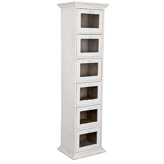 cassettiera bianca a 6 cassetti