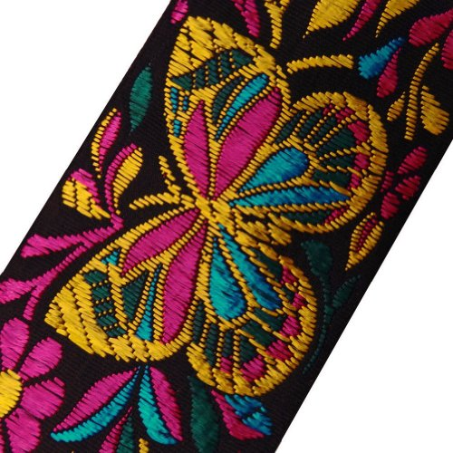 Black Base Jacquard Ribbon Trim Butterfly Design Decorative Lace Sewing India 4.5 Yd