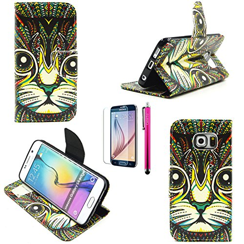 A3 Case, Casemart Soft Folio Flip PU Leather Skin [Stand Feature] Wallet [Card Holder] Cover Case [Lightweight] Magnetic Snap Various Pattern Skin Case for Samsung Galaxy A3 -Cat